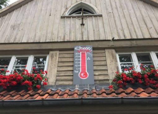 Spendenbarometer am Giebel des Parkwächterhaus