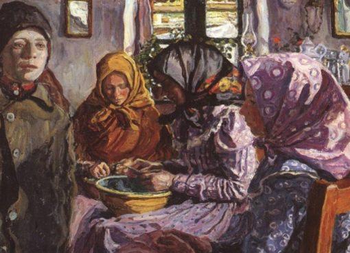 Erbsenschälerinnen mit Kopftuch