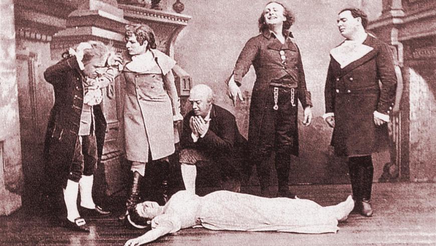 """Uraufführung von Offenbach's Oper """"Les contes d'Hoffmann"""" in Paris 1881. Szene: Ende des 3. Akts """"La mort d'Antonia"""""""