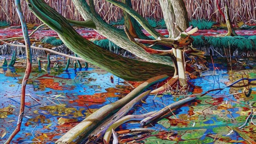 Konstantin Dery: Gestautes Wasser, Ufer, Schilf