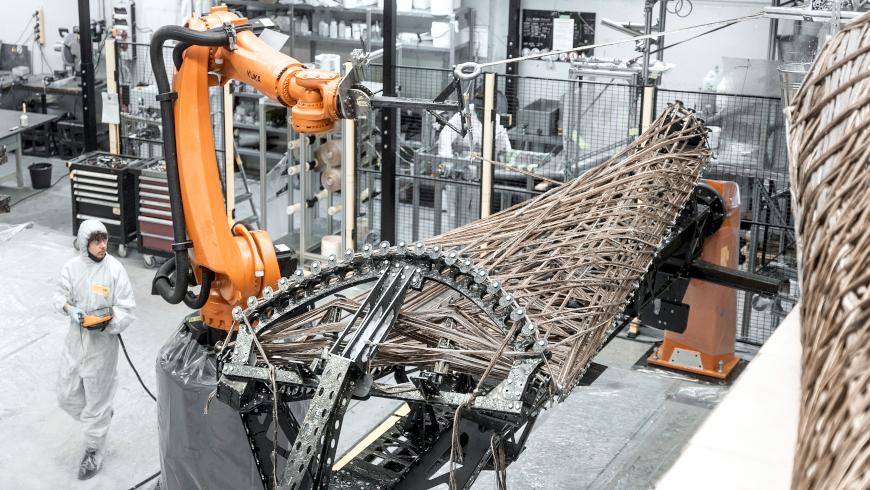 livMats Pavillon: Robotischer Fertigungsprozess bei der FibR GmbH